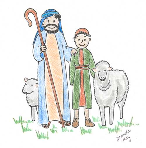 2 shepherds, 2 sheep